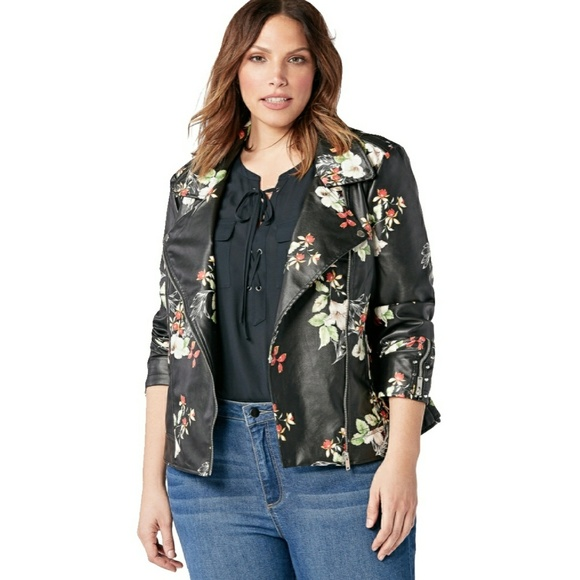 88054113358 Shoe Dazzle Jackets & Coats | Shoedazzle Black Floral Faux Leather ...